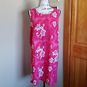 Surface Hawaiian Tropical Sleeveless Dress Pink XL